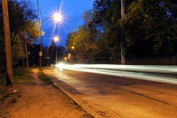 Bust street at night