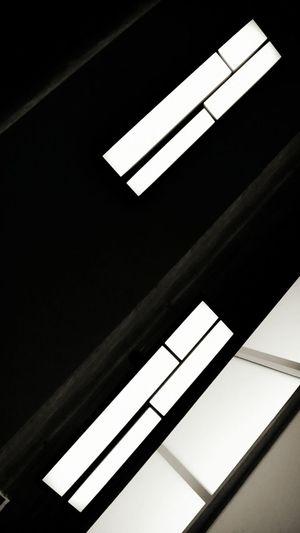 Upward view of ceiling windows