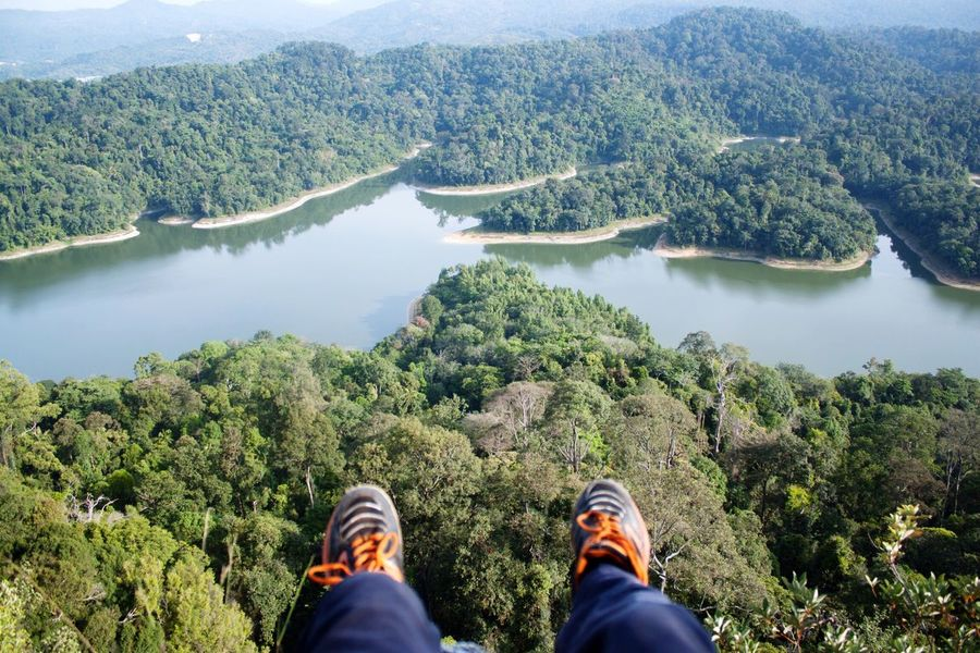 Hiking Nature Relaxation Lake Low Section Person Water Shoe Personal Perspective Footwear Human Foot Leisure Activity Mountain Solitude Resting Tranquility Tranquil Scene Lakeshore Cliff Vacations