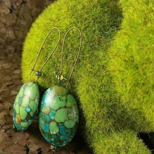 Beadzofafeather Jewelry Green Handmade Turquoise Turtle Tuortoise Shell