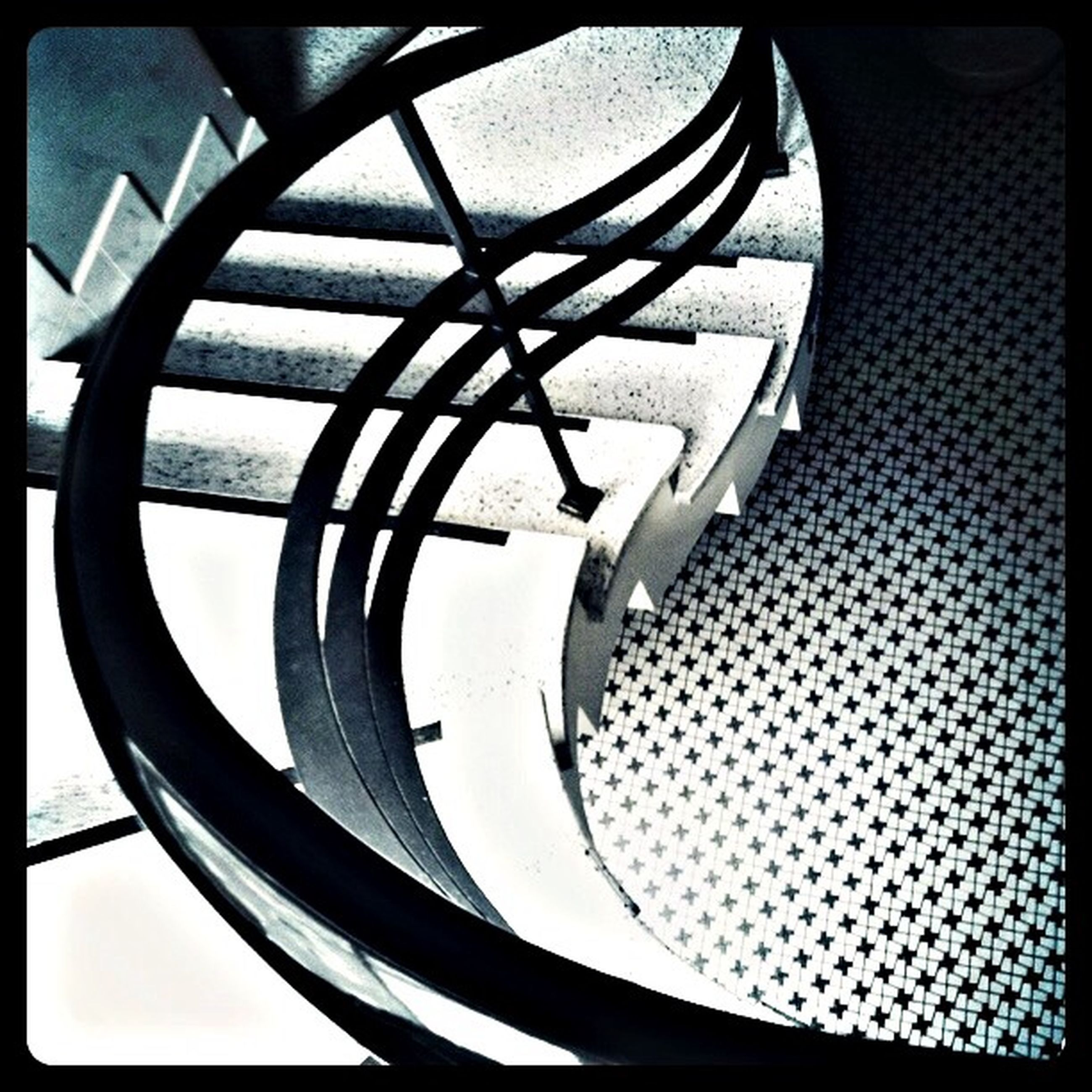 transfer print, indoors, auto post production filter, spiral, pattern, close-up, design, metal, spiral staircase, built structure, no people, circle, architecture, modern, railing, shape, low angle view, directly below, geometric shape, day