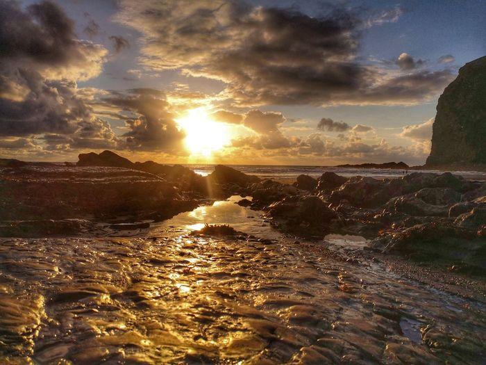 Bronze Sunset Sea Beach Water Summer Sun Sunlight Low Tide EyeEmNewHere HUAWEI Photo Award: After Dark