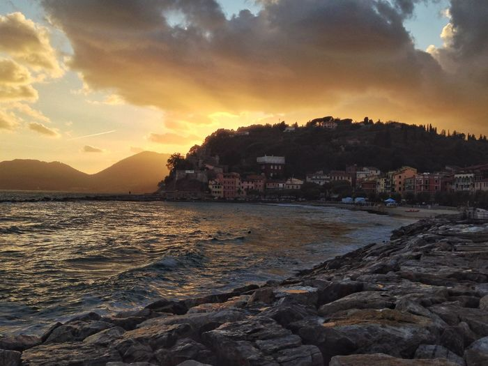 Lerici @ sunset Sunset Sky Nature Sea Cloud - Sky Beauty In Nature No People Water Outdoors Beach Tranquil Scene first eyeem photo