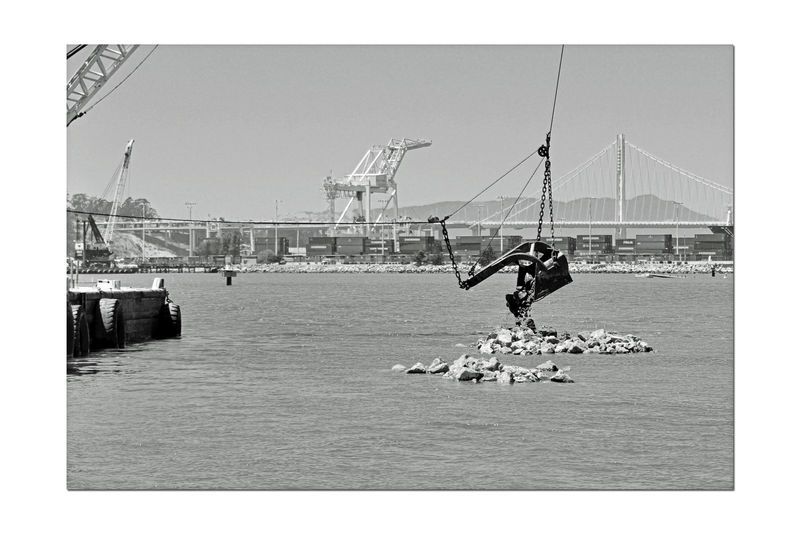 Dredging the Bay 2 Middle Harbor Port Of Oakland, Ca. San Francisco Bay Bay Bridge New Tower Eastern Span Gantry Cranes Waterfront Port Containers Maritime Waterfront Dredging Equipment Dumping Rock Estuary Black And White Black & White Black And White Photography Black And White Collection  Monochrome