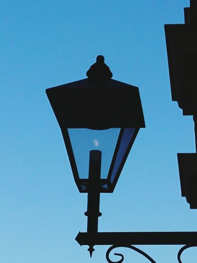 I cought the moon☺️. Clear Sky No People Blue Outdoors Sky Moon Lamp Streetlamp Street Streetlight Catch The Moment Catch The Moon! The Week On EyeEm