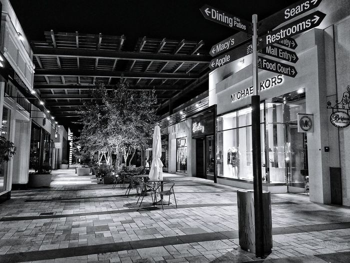 Courtyard  Mall Mysterious Isolated No People Just Us Black And White Night Photo Samsung Galaxy S7 Edge Shop Til You Drop Stores Shopping Mall Westfield Mall Valencia California Patio Patio Lights Black Late Nights Marketing Outdoor Pictures Consumerism This Way That Way Stores Micheal Kors
