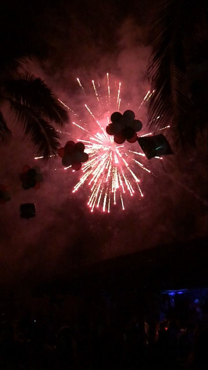 firework display, celebration, night, firework - man made object, exploding, arts culture and entertainment, low angle view, event, illuminated, long exposure, outdoors, motion, sky, multi colored, firework, no people