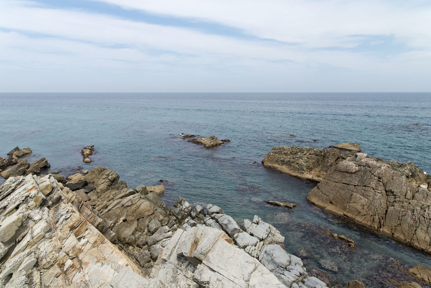 """famous seaside called """"Badabuchaegil"""" at Jeongjdongjin in Gangreung, Gaongwondo, South Korea Badabuchaegil Gangreung Jeongdongjin Beauty In Nature Cloud - Sky Day Horizon Over Water Nature No People Outdoors Rock - Object Scenics Sea Seaside Sky Tranquil Scene Tranquility Water"""