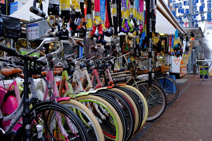 Travel during light festival Bicycle Bicycle Shop Day Land Vehicle Mode Of Transport No People Outdoors Pedal Stationary Transportation