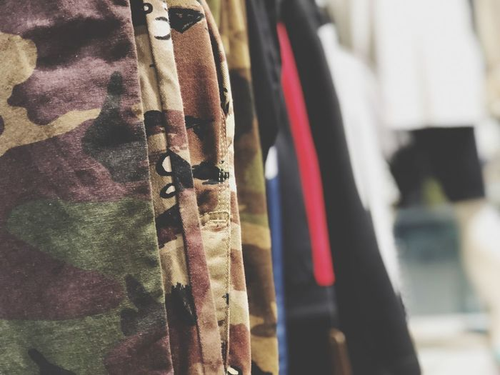 Army theme costume style Hanging Cloth Fashion Military Style Military Pants Textile Focus On Foreground Close-up Indoors  Hanging No People Clothing Personal Accessory Lifestyles