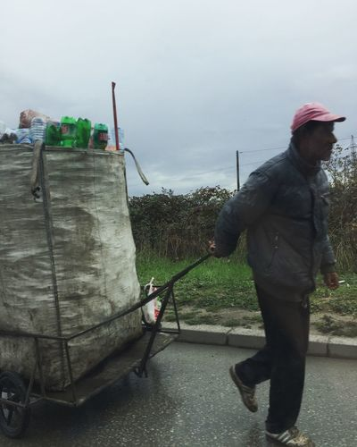 Poverty Albania Outdoors Day Working Men One Person Real People Recycling Pfandflaschensammler Duales System Work