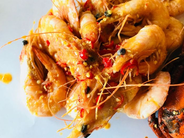 Garlic butter prawn with chili Chili  Garlic Butter Prawn Garlic Preserved Prawn Food And Drink Freshness Ready-to-eat Food Close-up Plate Still Life Seafood Serving Size