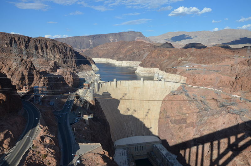 High Angle View Of Hoover Dam Amidst Mountains Against Sky