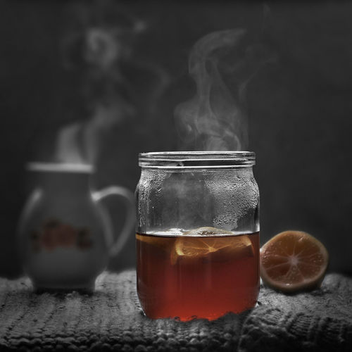 STILL LIFE Close-up Day Drink Drinking Glass Food And Drink Freshness Healthy Eating Herbal Tea Indoors  No People Refreshment Smoke - Physical Structure Table Tea - Hot Drink