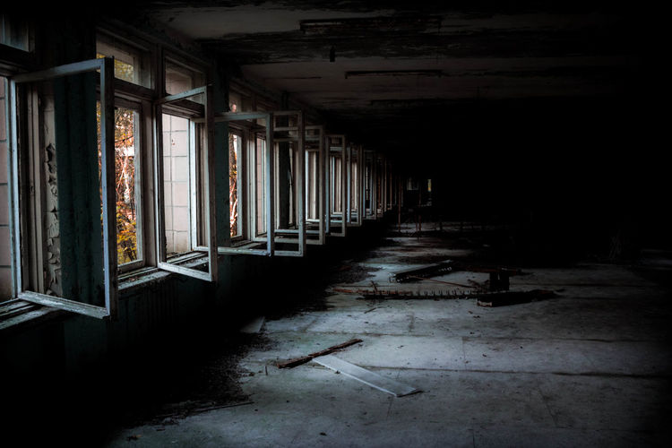 Opened Windows In Abandoned Building