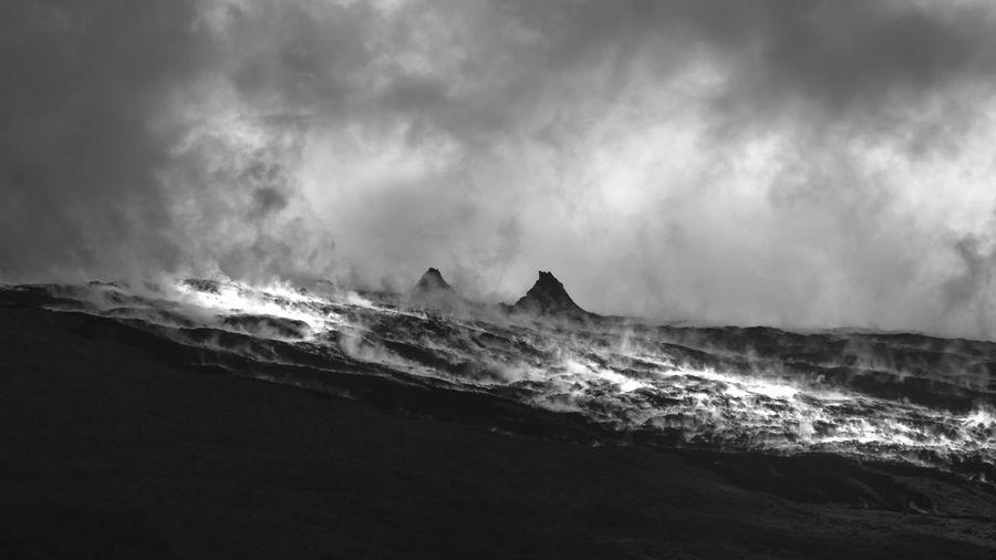 Rains evaporating on still warm lava flows. piton de la fournaine volcano