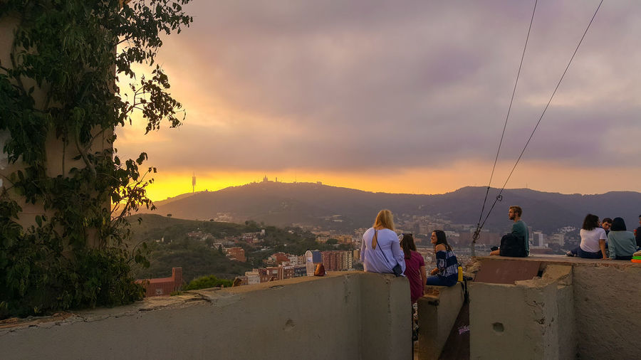 Mountain Sunset Sky Nature People Beauty In Nature Landscape Outdoors Vacations Photography Themes Tree Contrast Contrasts Tibidabo Mountain EyeEm Vision Sunset_collection Sunsets Mist Misty People Watching Sky Gazer Sky Gazing Nature Bunker Barcelona