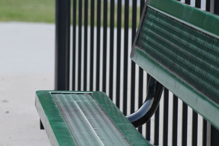 park bench Absence Blue Close-up Day Empty Focus On Foreground Green Color Nature No People Outdoors Repetition Seat Tranquility