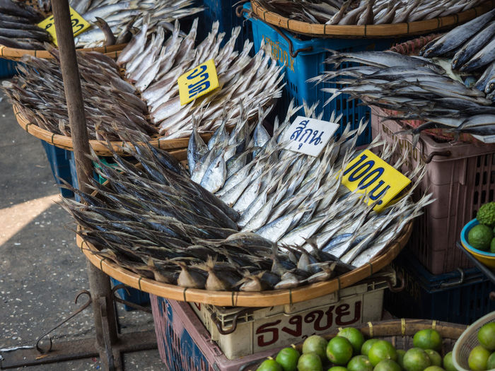 Dried Fish For Sale In Baskets On Maha Chai Fish Market, Thailand