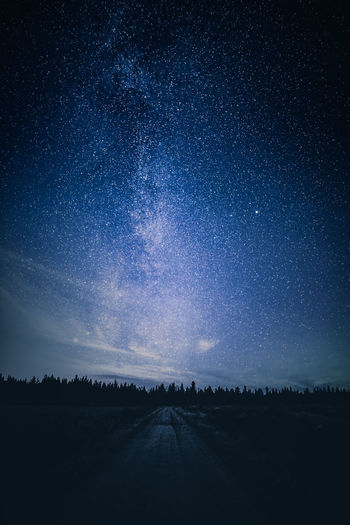 Feeling blue Sky Scenics - Nature Tranquil Scene Beauty In Nature Night Star - Space Tranquility Astronomy Road Space Landscape Nature The Way Forward No People Galaxy Direction Diminishing Perspective Outdoors Milky Way Lapland Finland Nightphotography Scenics EyeEm Best Shots Blue
