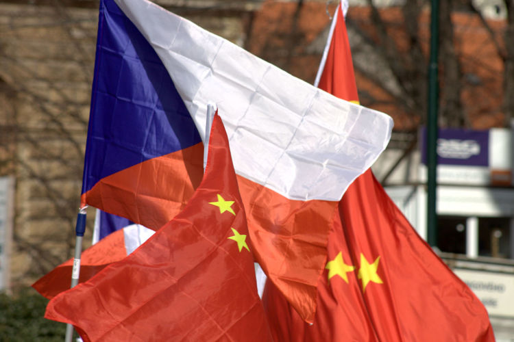 Chinese Flag Czech Flag Czech Republic Flag Friendship Patriotism Prague Red
