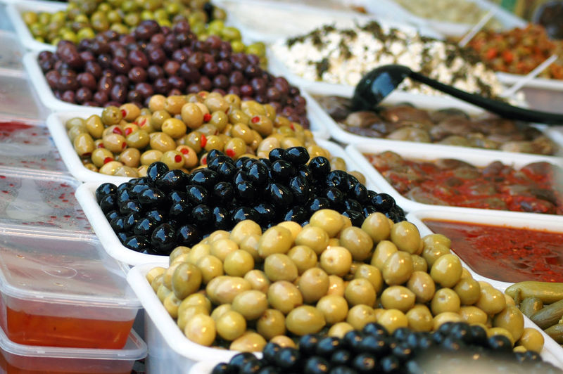 Fruits in container at market stall
