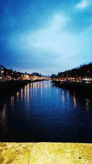 Dublin Liffey Sky Night Water Citycentre