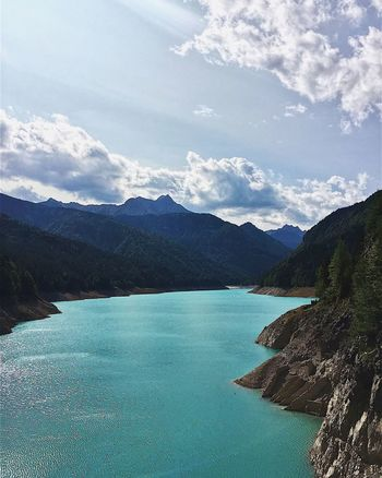 Sauris, Italy — 2017 Elements Water Sunny Summer Mountains Dam Adventure Sightseeing View Lake Mountain Range Tranquility No People Day Outdoors Lake