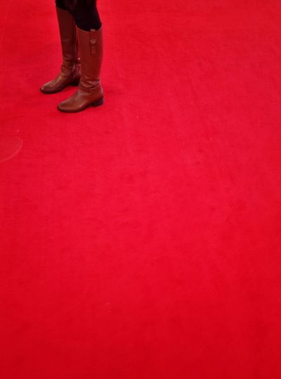Low section of man standing on red surface