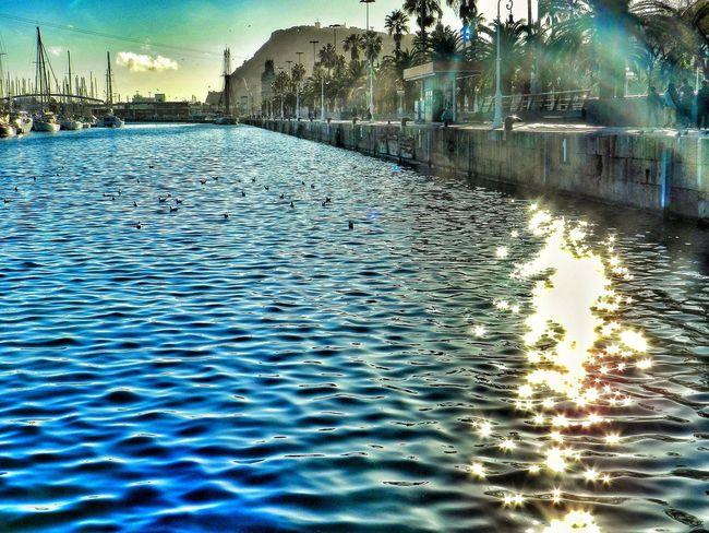Shinny Sea in Barcelona Port