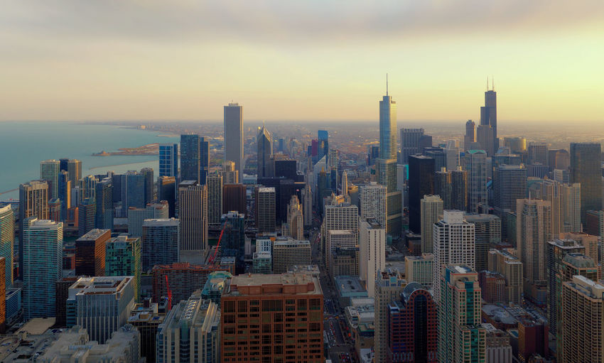 Chicago City, Chicago, illinois, USA Chicago City Cityscape Downtown Financial District  Illinois Michigan Lake USA Architecture Building Exterior City Cityscape Day Downtown Downtown District Growth Modern No People Outdoors Sky Skyline Skyscraper Sunset Tall Tower Travel Destinations Urban Skyline