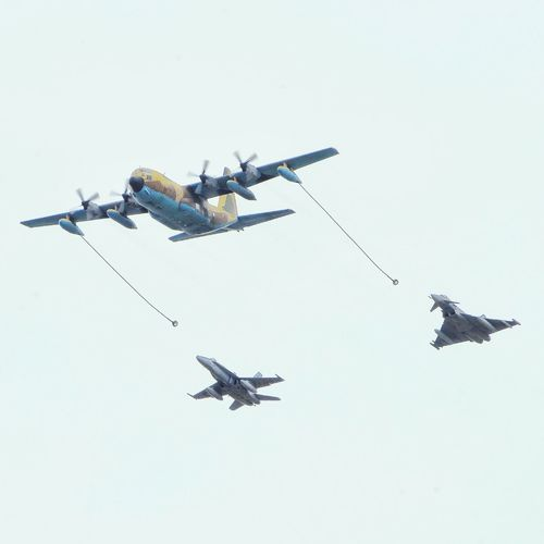 Refueling C130 Hercules, F-18 Hornet & Eurofighter Flying Togetherness Sky Airshow Military Airplane