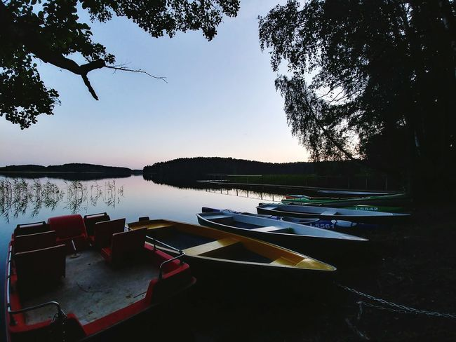 Boats resting in lake Water Lake Reflection Tranquility Nature Landscape Scenics Horizon Over Water Boats Boat Paddle Paddle Boats Resting Evening Sunset Summer Tree Relaxing