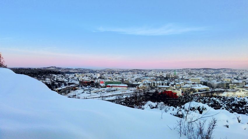 Snow Winter Cold Temperature Beauty In Nature City Life Day Tranquility Outdoors Snowcapped Sunrise Clear Sky Myhome View My Hometown My View