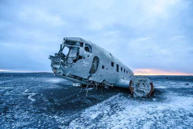 Abandoned Accidents And Disasters Adventure Airplane Atmospheric Mood Crash Damaged Destruction Deterioration Europe Iceland Military Airplane Nature Nautical Vessel Navy Obsolete Outdoors Run-down Sinking Sky Transportation Travel Travel Travel Destinations Winter