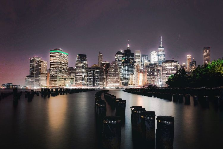 Big Apple 🍎 New York At Night New York Landscape Building Exterior Built Structure Architecture Night Illuminated Sky Water City Reflection Waterfront Skyscraper Building River Modern Travel Destinations Office Building Exterior Nature Cityscape No People Tall - High