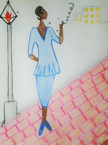 Hand Drawing Woman Smoking Black Lady Standing On Street Corner Hanging Out New Orleans Lady I Drew This Street Life Boredom Beautiful Colored Woman Lady Smoking when I was in the hospital in New Orleans, LA I would draw. I got inspiration from the great city and the lovely people. I've never shown it before. Please be nice. I just love to draw. its not finished yet. Street People Watercolors  Not Done Yet