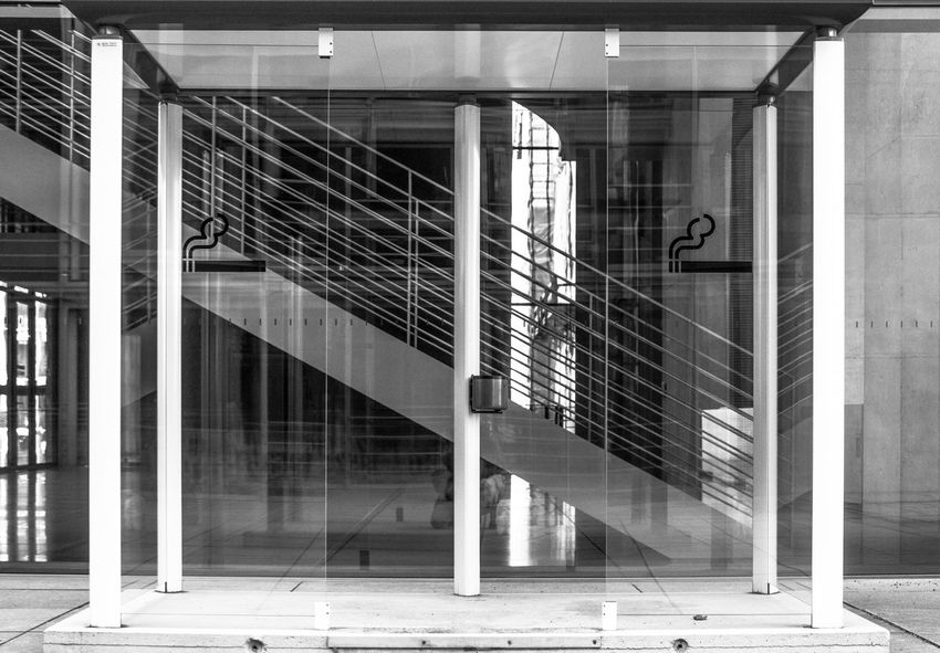 Modern Architecture Reflection Smoking Stairs Architecture Building Exterior Built Structure Day Glass - Material Indoors  Modern No People Smoking Area