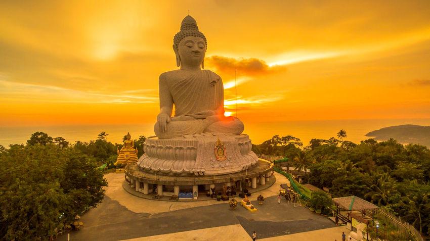 Phuket Big Buddha is one of the island most important and revered landmarks on Phuket island. Architect, BIG Buddha Aerial View Landmark,travel Landscape Religion, Church, Sect, Denomination, Belief, Ideology, Creed, Teaching, Doctrine, Moslem, Islam, Scenery, Shots, Germany, Fowl, Birds, Waterfowl, Marsh, Swamp, Bridge, Sea Sky Sunset,sunrise,sun Viewpoint White