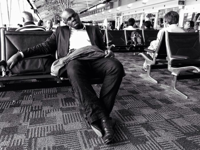 Black And White Waiting for Boarding @ Airport