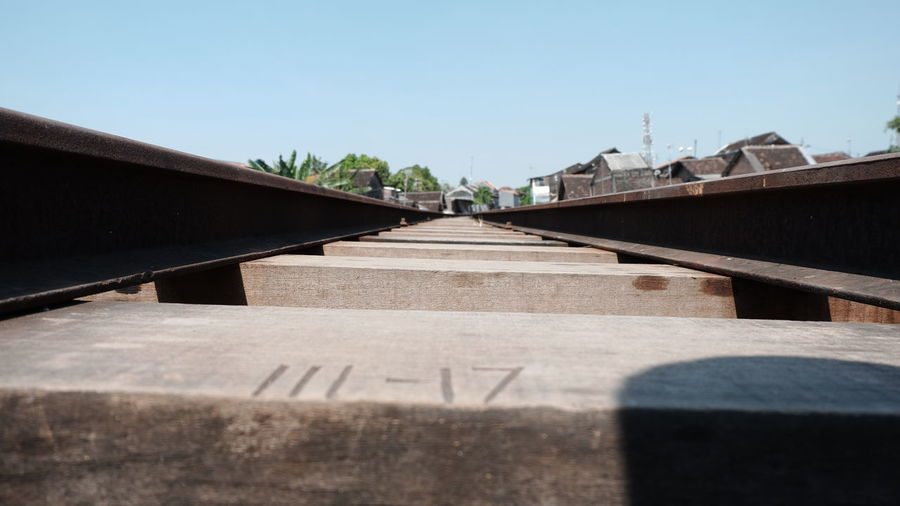 Surface level of railroad tracks against clear sky