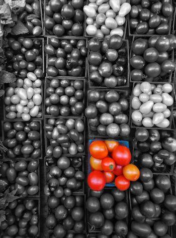 Tomato splash. Fuji XT100 Photography Outdoors Nature's Bounty Black And White Color Splash Tomatoes Farmer's Market Backgrounds Full Frame Variation Close-up For Sale Stall Market Stall Street Market Market