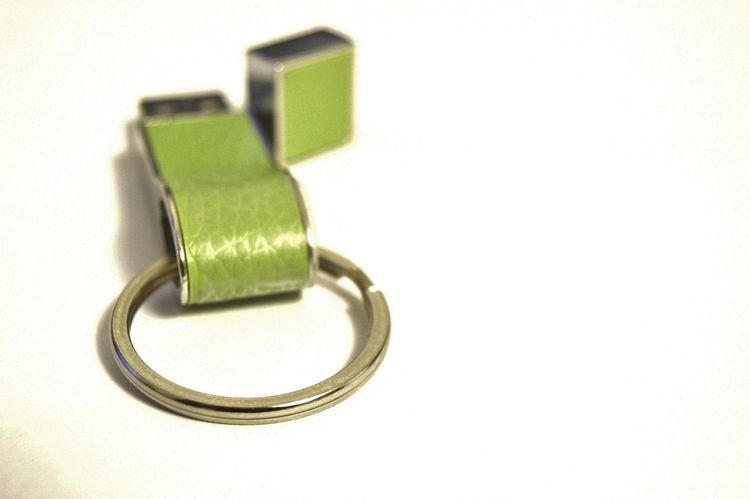 Flash drive with key ring Cap For End Artifical Light Bright Green Shadow Small Thumb Drive Usb Drive White Background