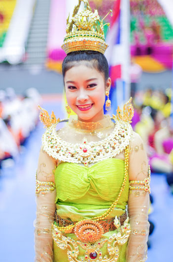 Adult Adults Only Asian Culture Asian Dress Asian Girl Beautiful People Beauty Crown Day Happiness Headwear Looking At Camera One Person One Woman Only One Young Woman Only Outdoors People Period Costume Portrait Queen - Royal Person Royal Person School Smiling Traditional Clothing Young Adult