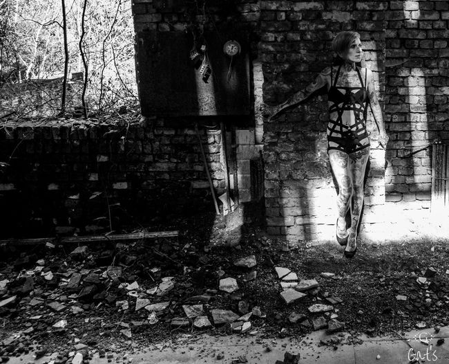 Black And White Brick Wall Gat's One Person Tatooed Tatoos Urbex Urbexmodel Women