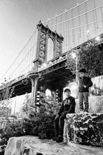 Bridge Built Structure Casual Clothing Full Length Lifestyles Manhattan Nature The Portraitist - 2016 EyeEm Awards Monochrome Photography
