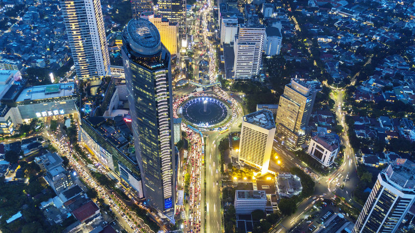 Jakarta Aerial View Architecture Building Building Exterior Built Structure City City Life Cityscape Downtown District Financial District  High Angle View Illuminated Indonesia Photography  Modern Night Nightlife No People Office Office Building Exterior Residential District Skyscraper Street Tower Travel Destinations