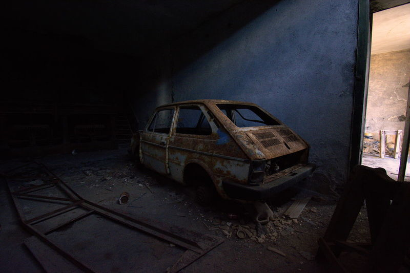 Abandoned car in garage