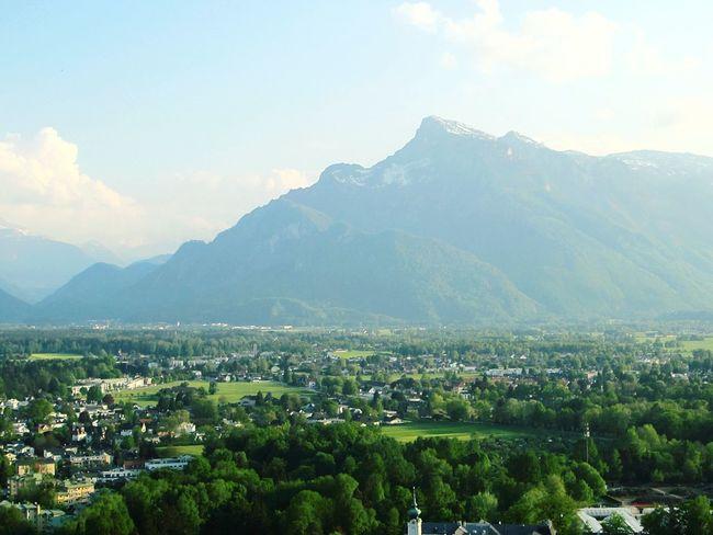 Enjoying the big musical city with the view of mountain. Salzburg Austria Mountain Forest Green Europe Eurotrip Europein50days