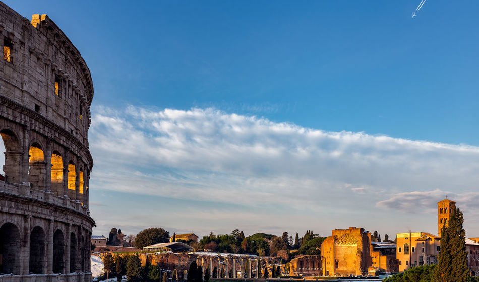 Collosseum and Palatine during Winter in the Morning. Colloseum In Rome Rome Ancient Ancient Civilization Arch Architecture Building Exterior Built Structure Castle City Cityscape Cloud - Sky Day History No People Old Ruin Outdoors Rome Italy Sky The Past Tourism Travel Travel Destinations
